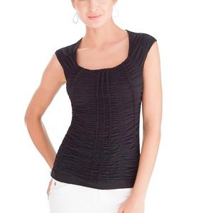 EUC WHBM Extended Sleeve Black Ruched Tee